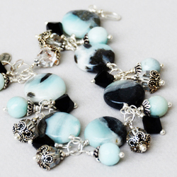 Black Amazonite and Sterling Bracelet