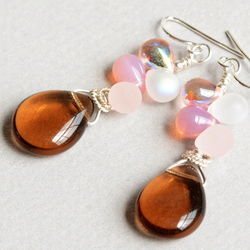 Smoky Gems Glass, Crystal and Sterling Earrings
