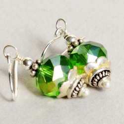 Green Crystal Sterling and Pewter Earrings