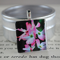 In the Pink Glass Tile Pendant