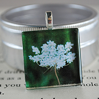 Queen Anne's Lace Glass Tile Pendant