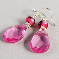 Susie Pink Crystal and Sterling Earrings