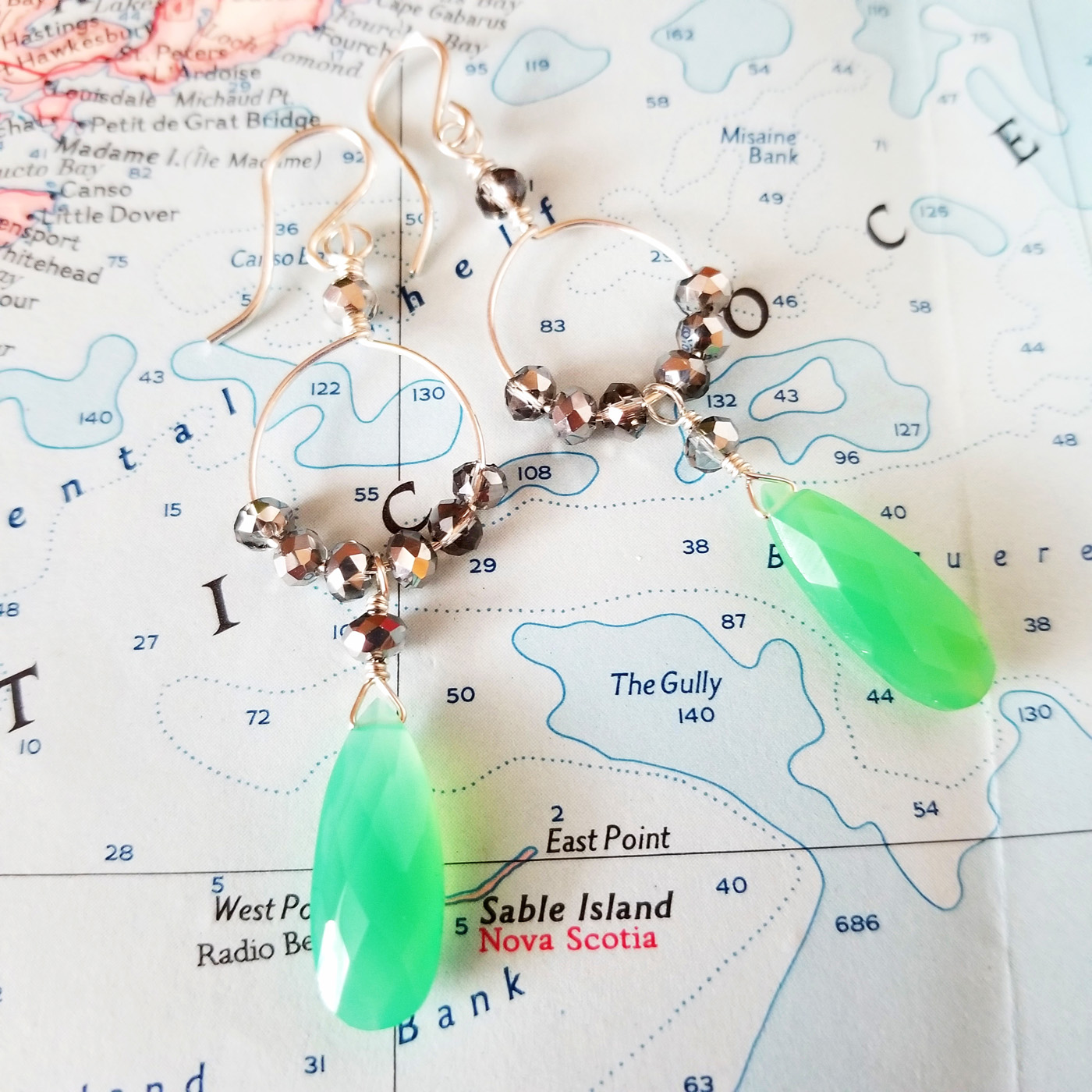 Green Quartz, Crystal and Sterling Earrings
