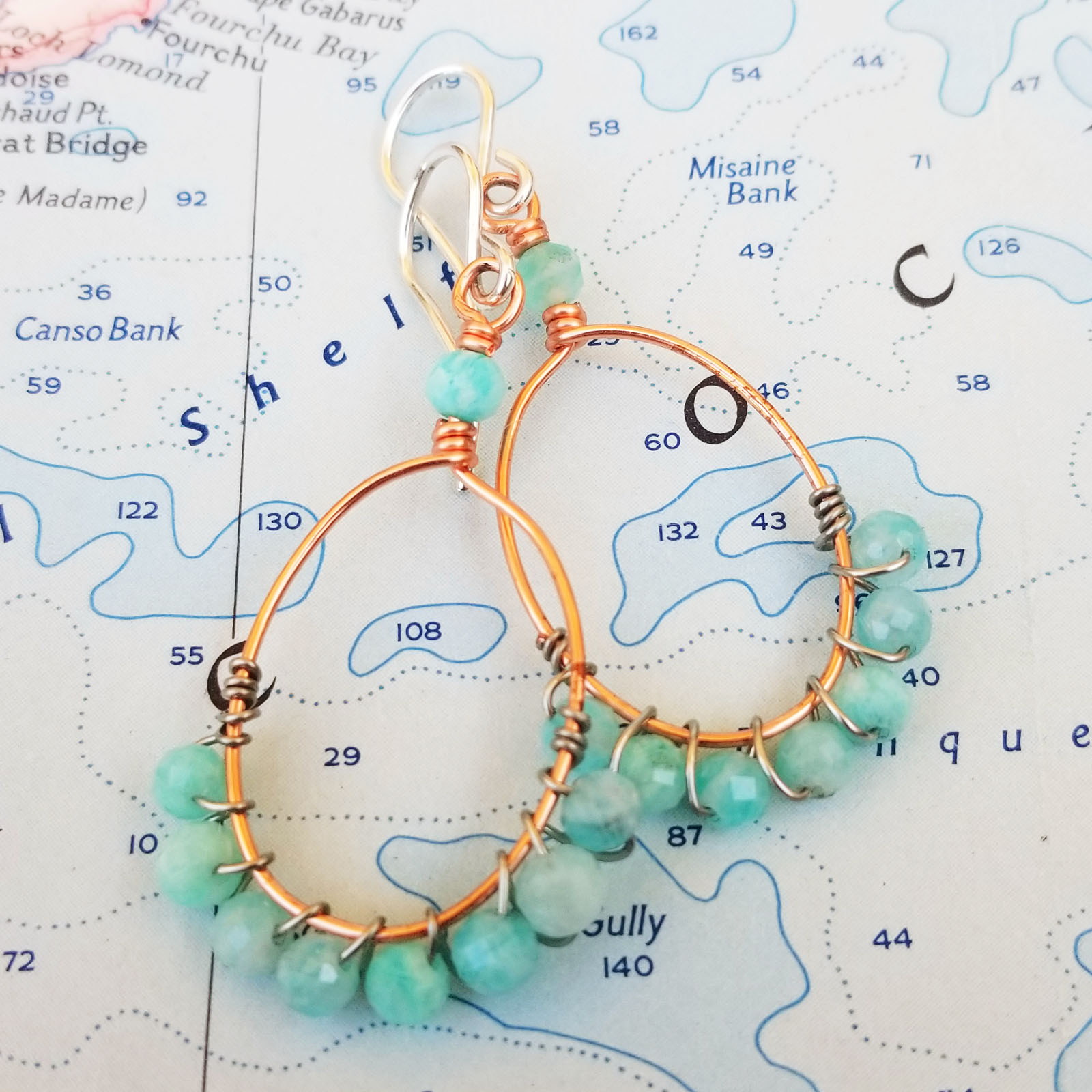 Blue Amazonite, Copper and Sterling Earrings
