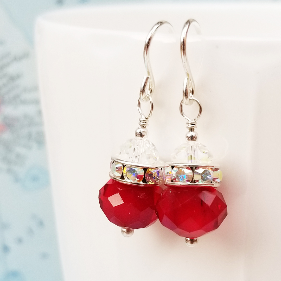Decked in Red Crystal and Sterling Earrings