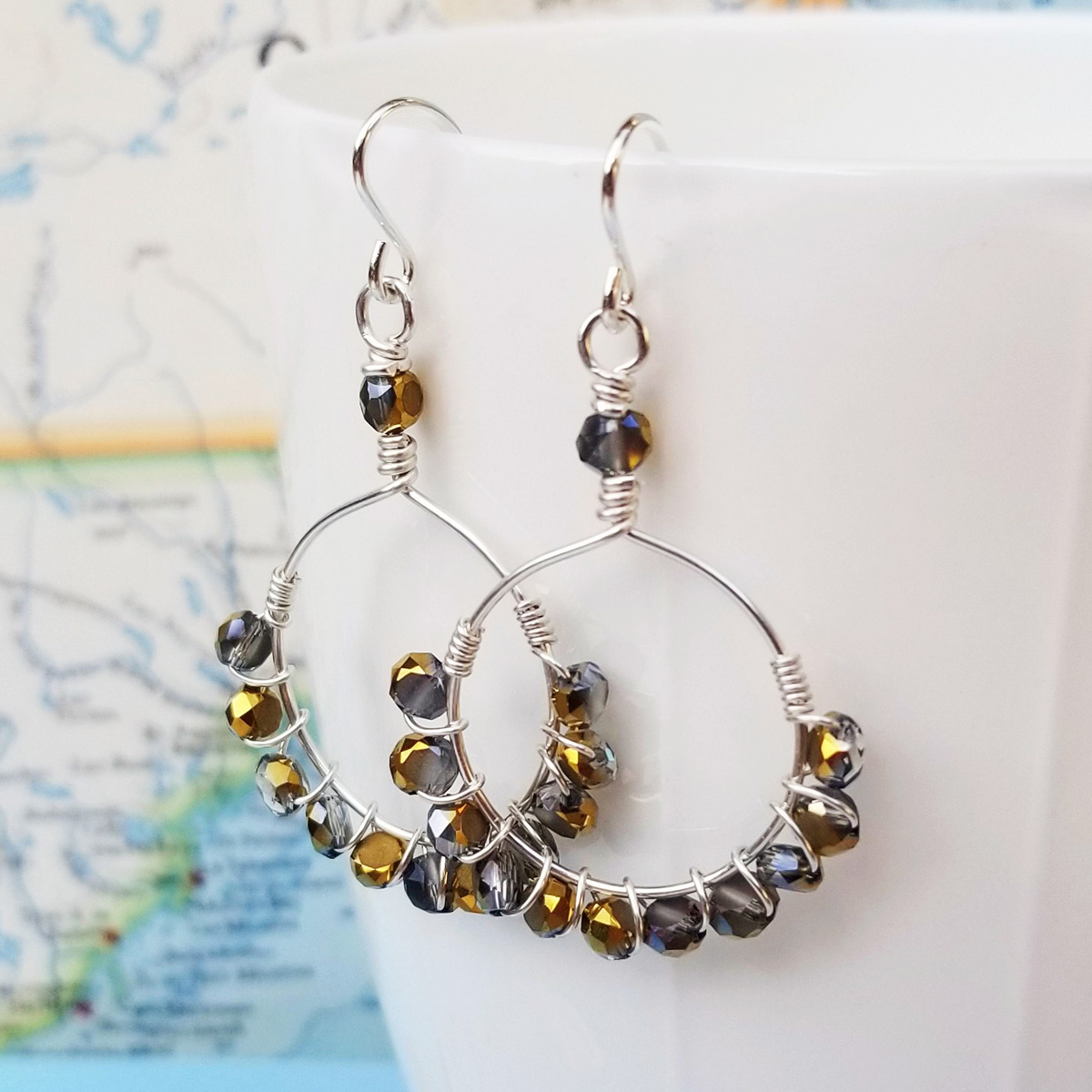 All Mixed Up Sterling and Crystal Earrings