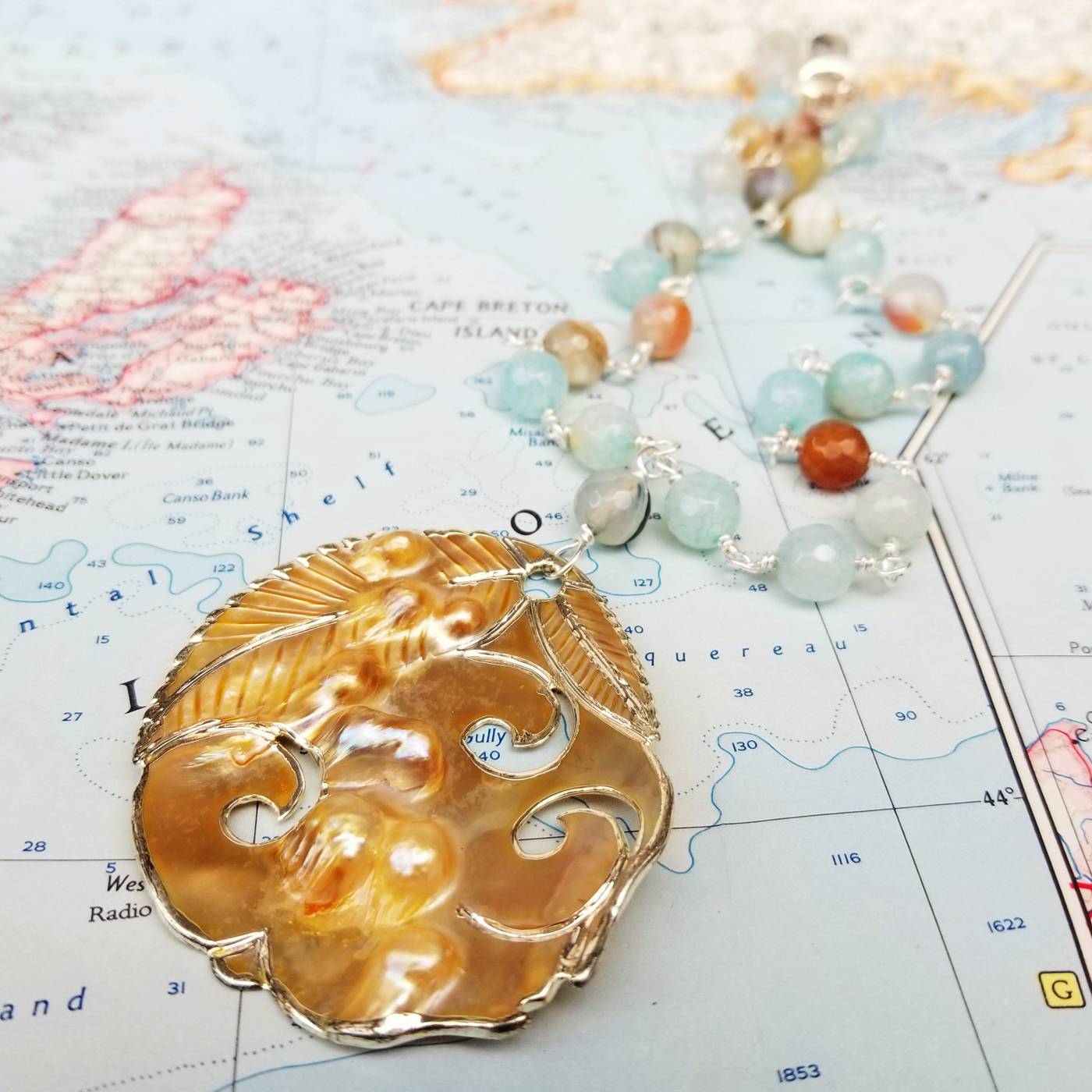 To the Sea Pearl, Agate and Sterling Necklace
