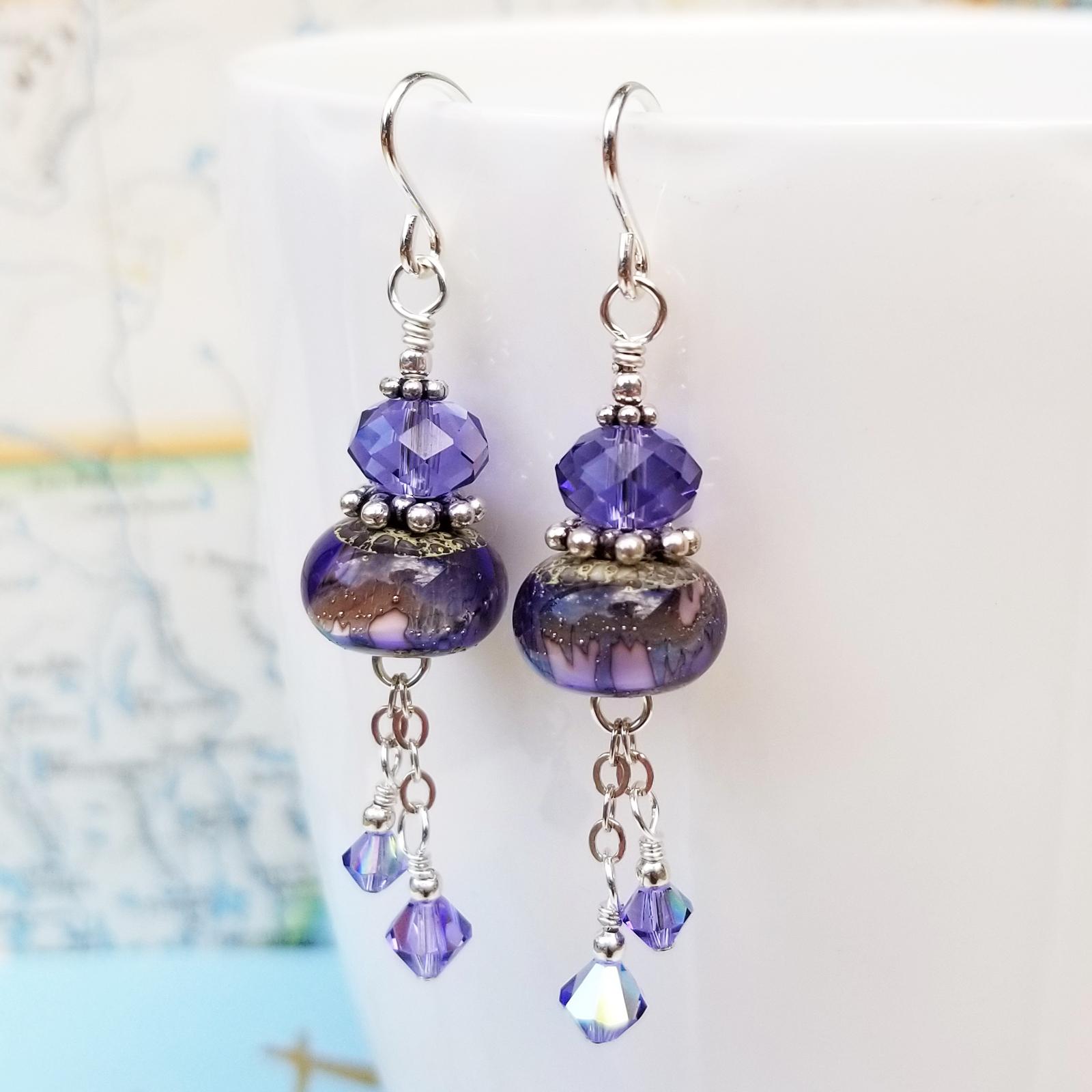 Lampwork, Tanzanite and Sterling Earrings