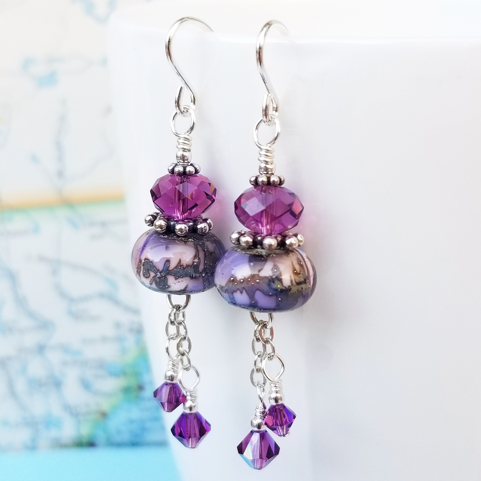 Lampwork, Amethyst and Sterling Earrings