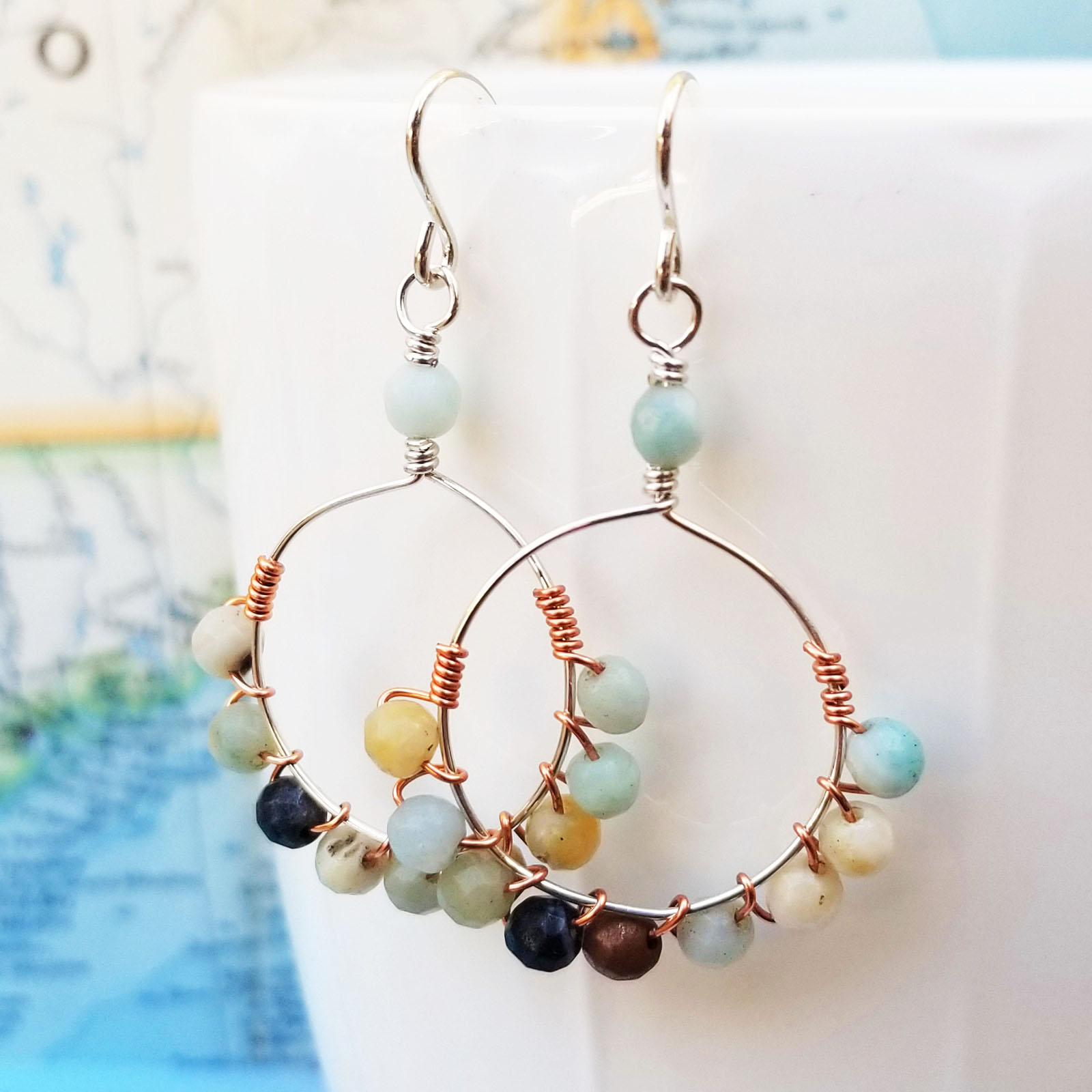 Amazonite, Sterling and Copper Earrings