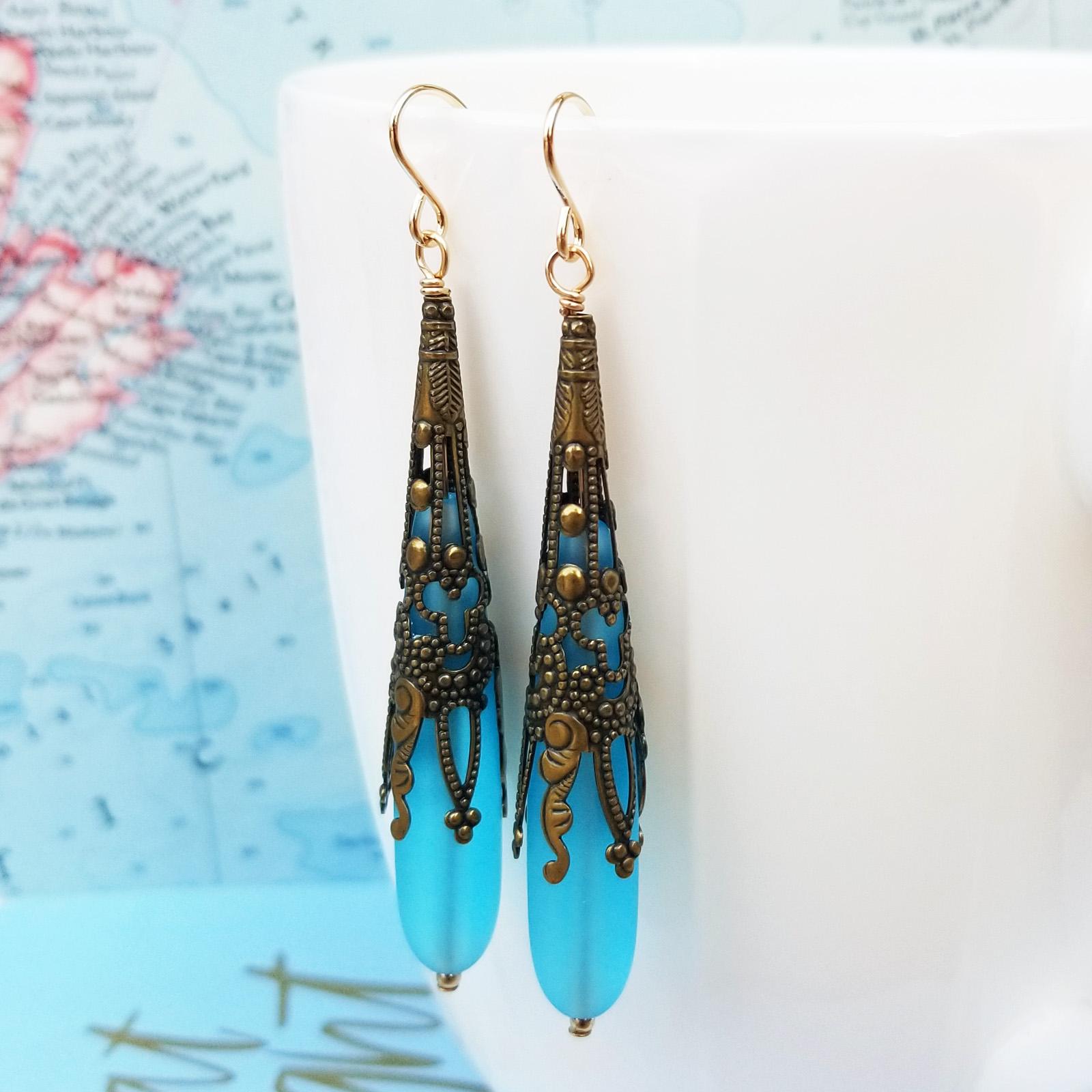 Aqua Call Me Vintage Sea Glass and Brass Earrings