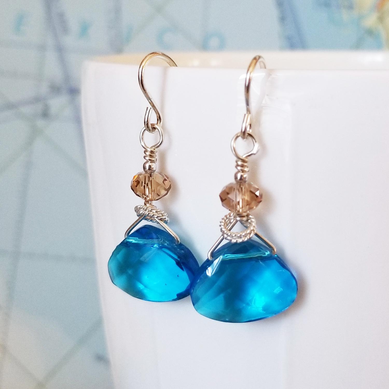 Aqua Jewels Crystal and Sterling Earrings