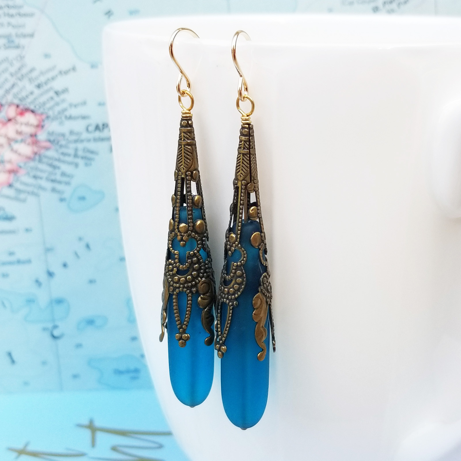 Azure Blue Call Me Vintage Brass and Seaglass Earrings