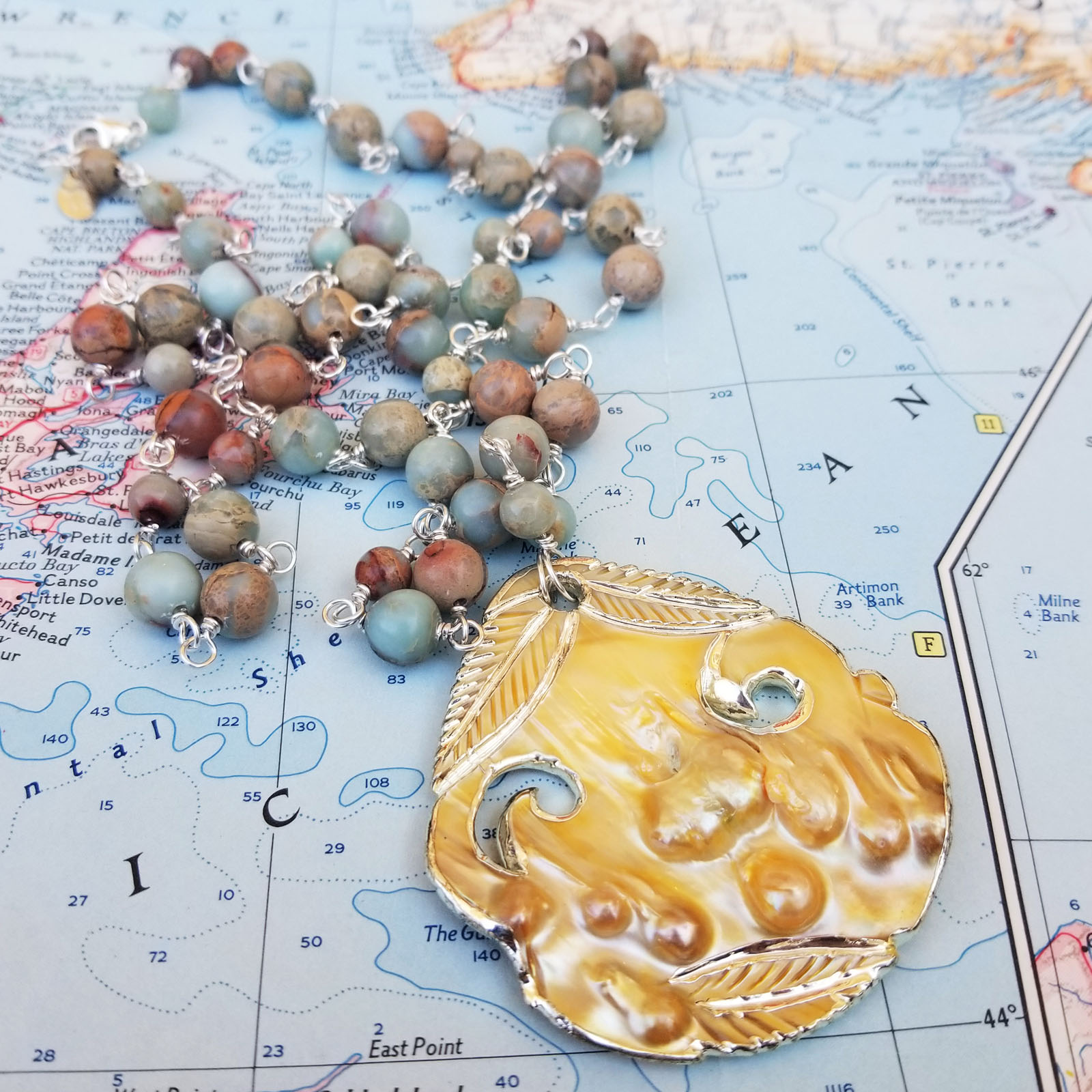 Always Blister Pearl and Gemstone Long Necklace