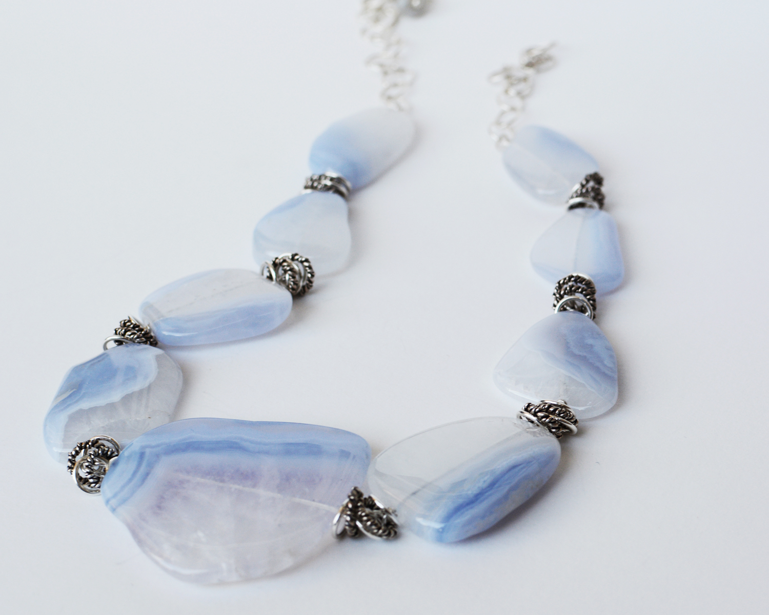 Chalcedony Blues Statement Necklace