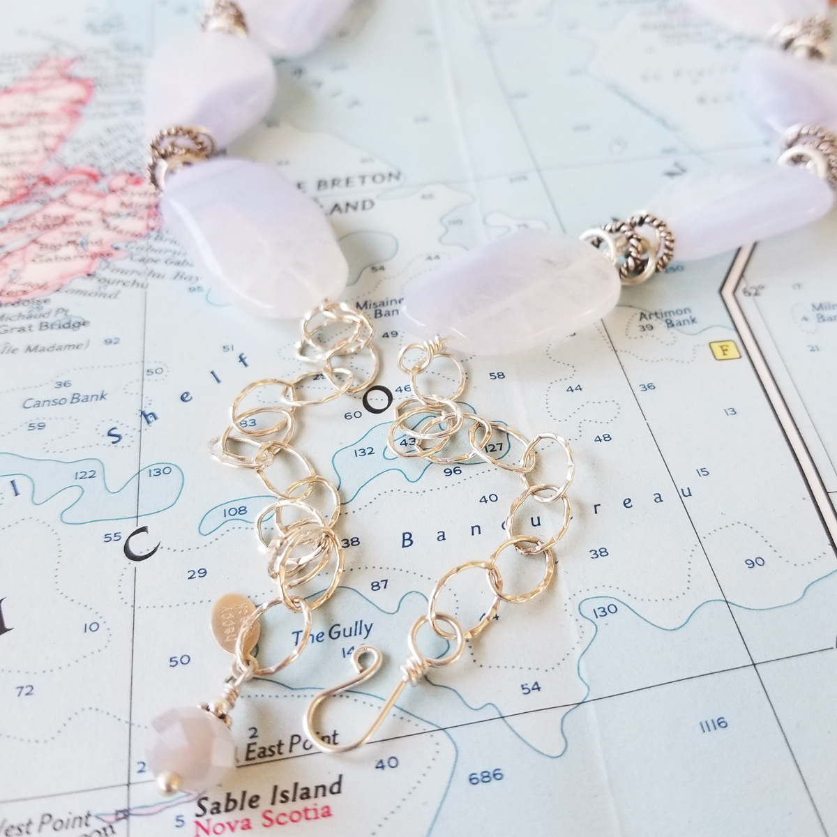 Chalcedony Blues Gemstone and Sterling Statement Necklace