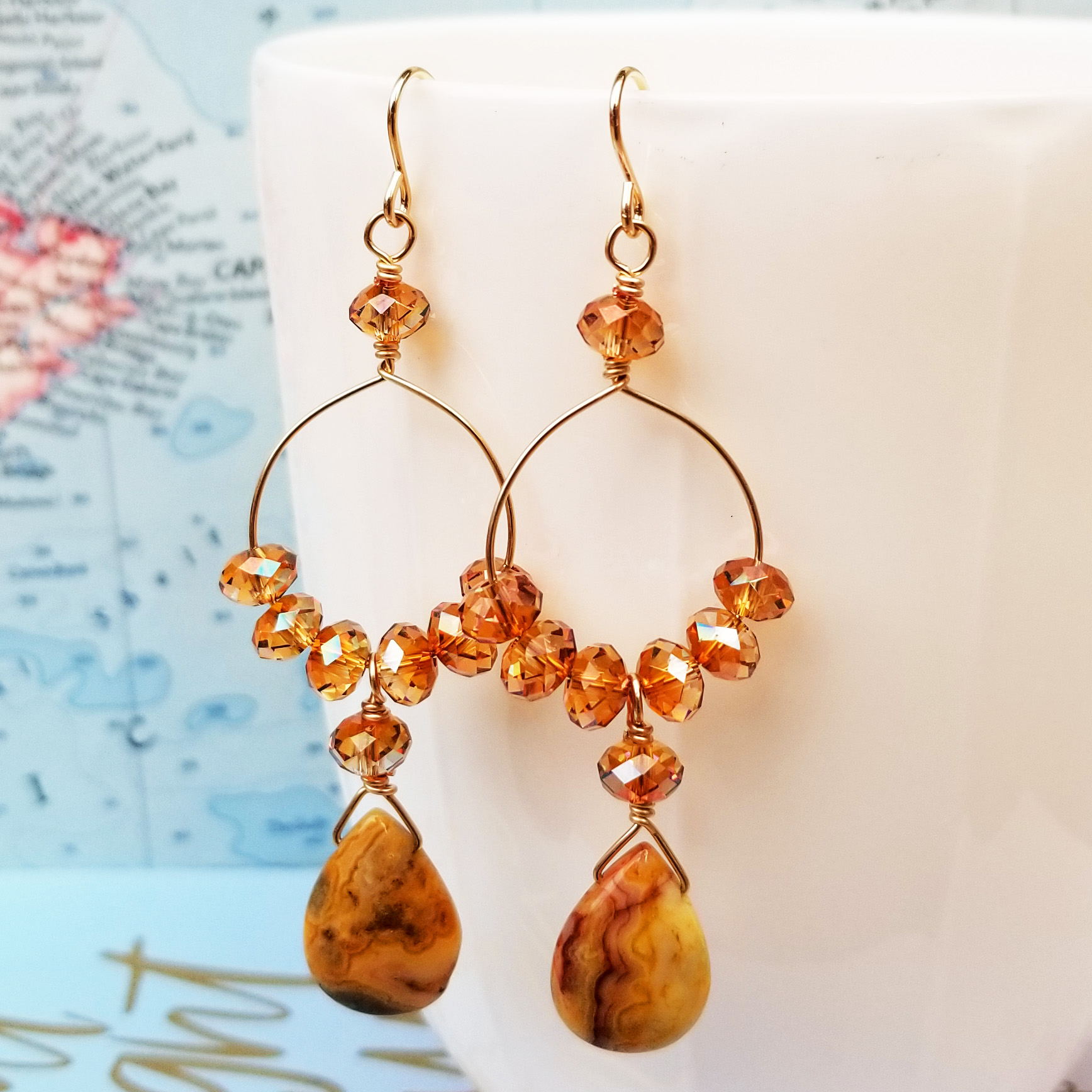 Golden Drops Gold, Crystal and Gemstone Earrings