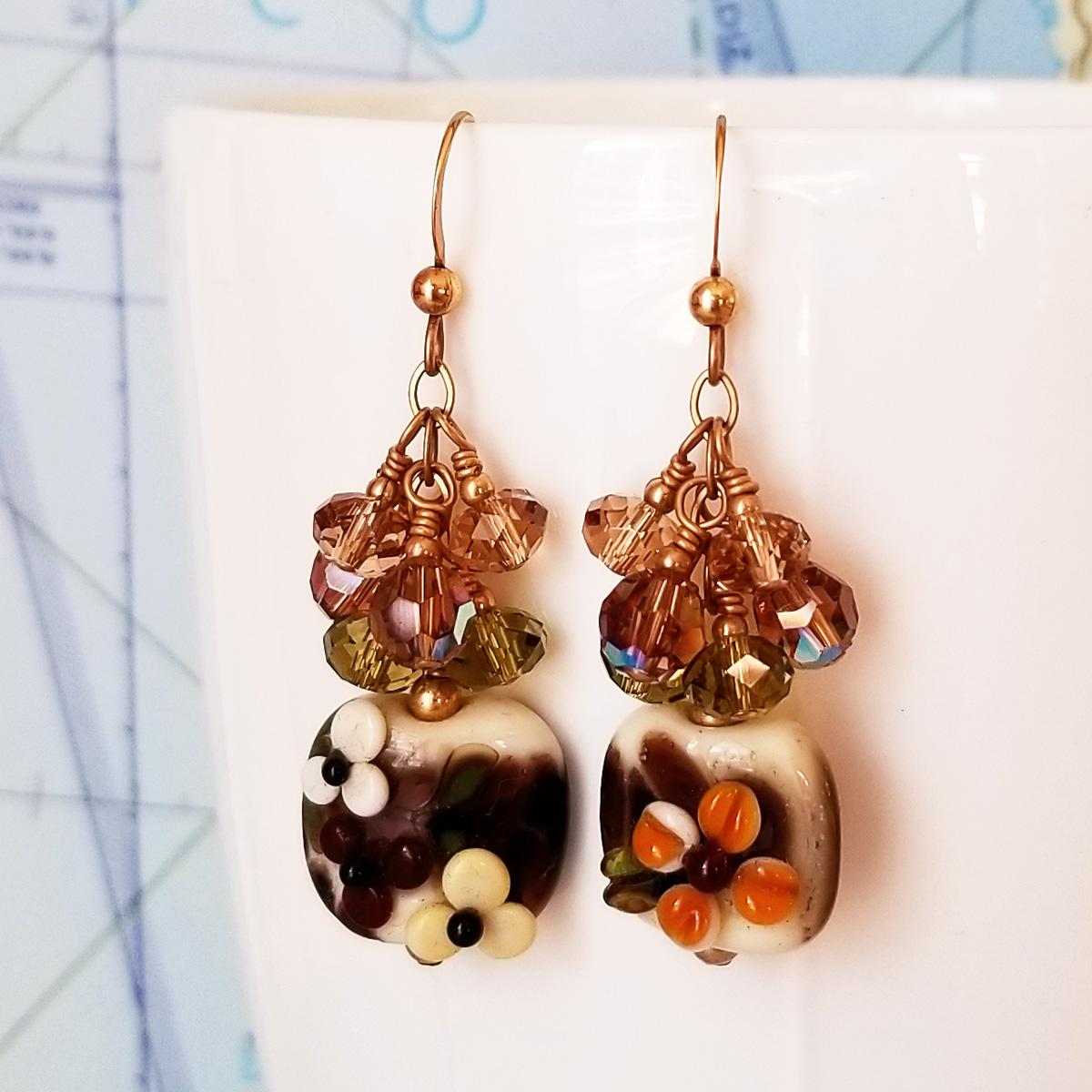 Golden Garnet Sunset Lampwork and Crystal Earrings