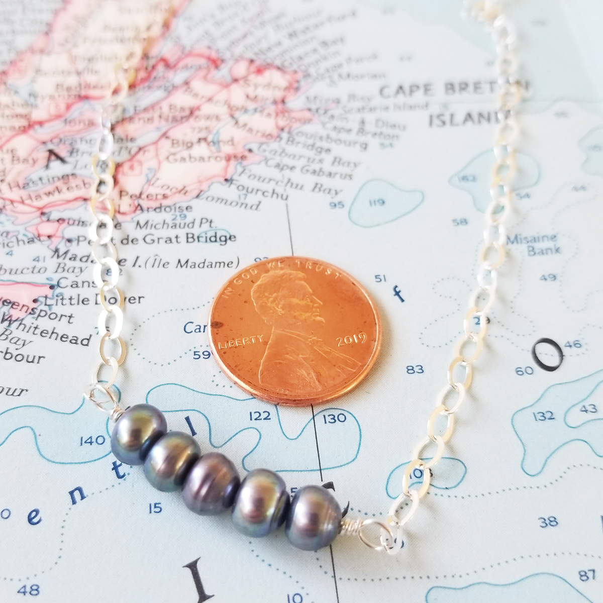 Gray Pearl Sterling Bar Necklace