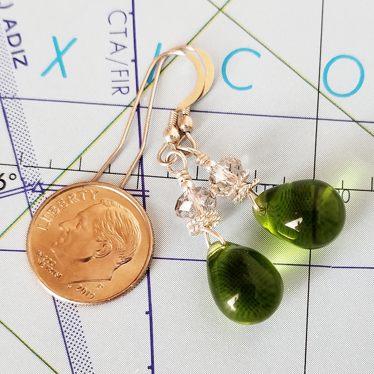 Green Glass and Crystal Drop Earrings