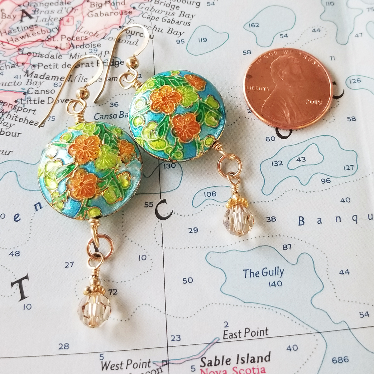 Green and Gold Cloisonne Earrings