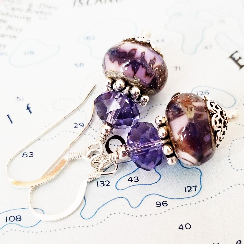 Jupiter Lampwork, Crystal, and Sterling Earrings