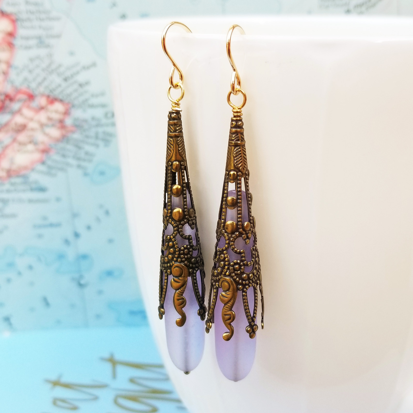 Lavender Call Me Vintage Sea Glass and Brass Earrings