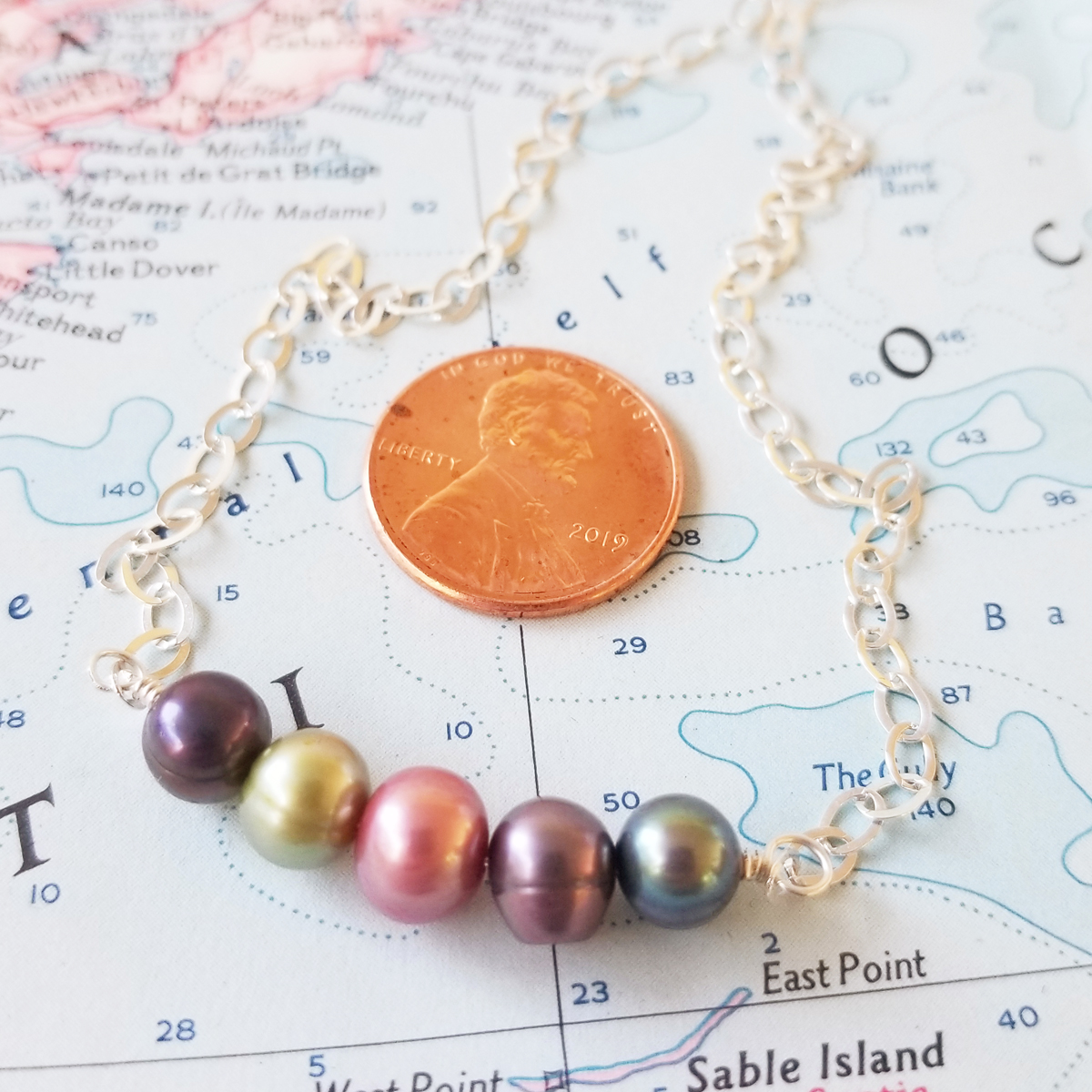 Mixed Pearl Sterling Bar Necklace