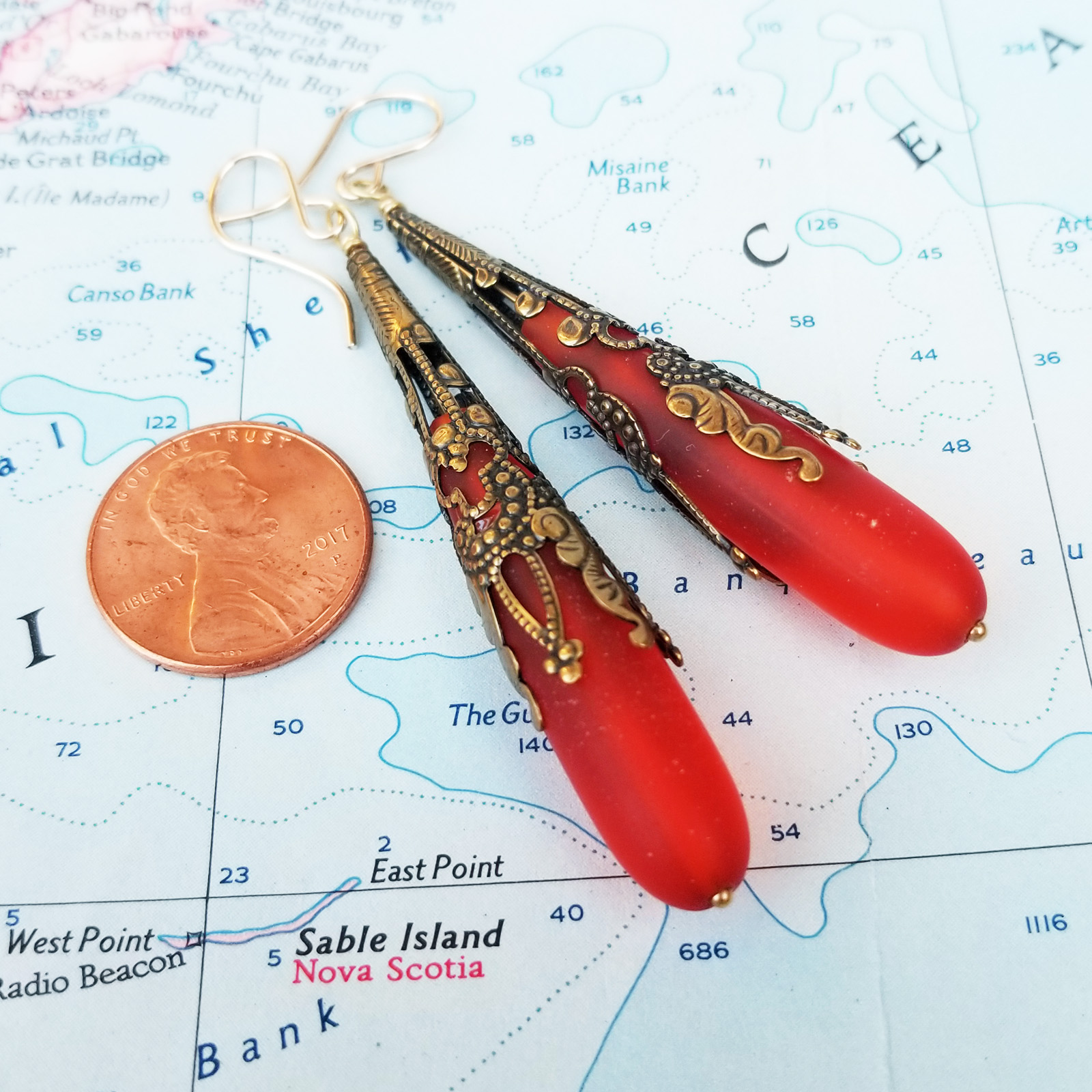 Coral Red Call Me Vintage Sea Glass and Brass Earrings