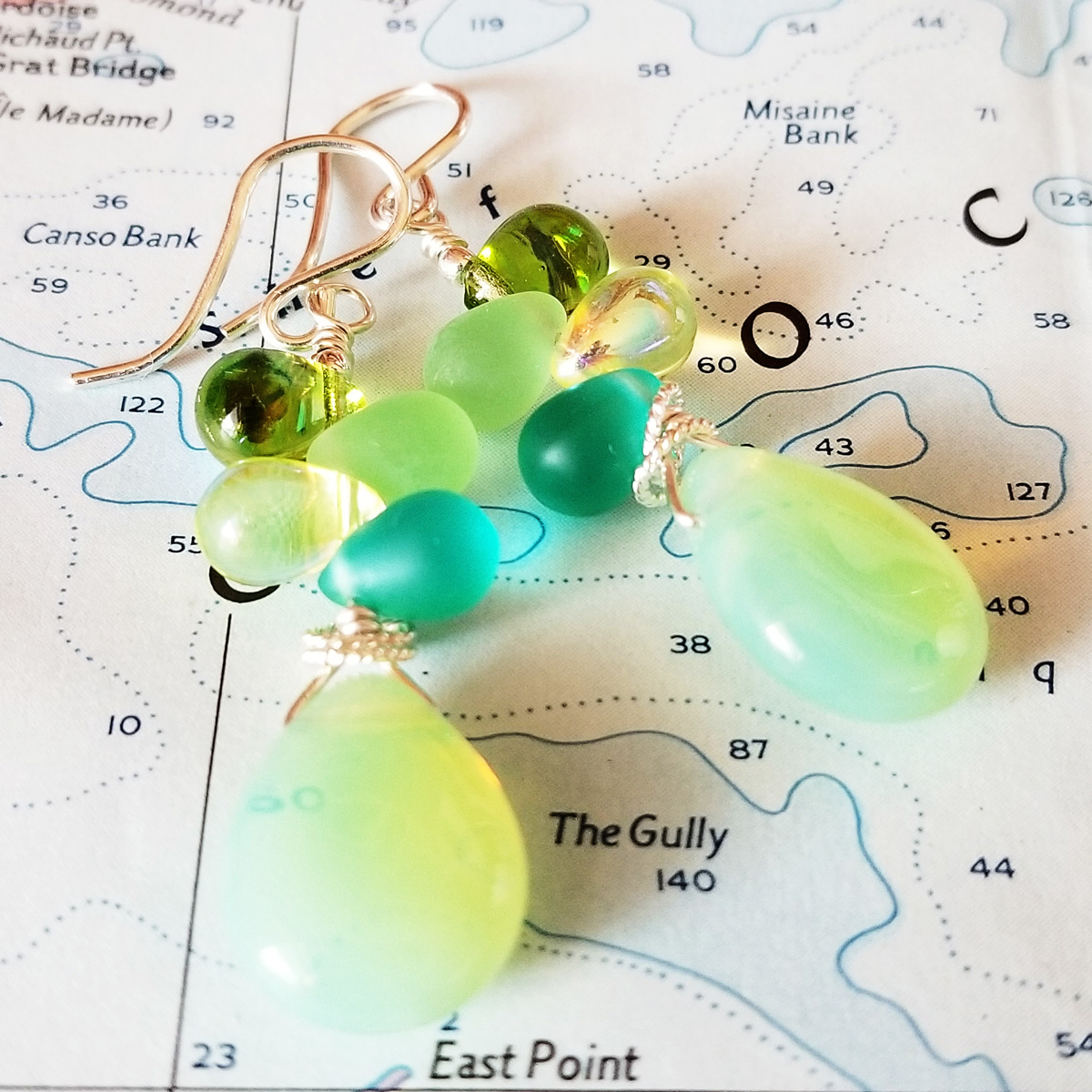 Sea Gems Glass and Sterling Earrings