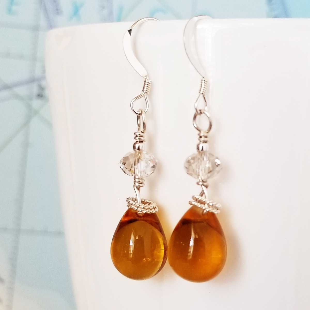 Topaz Glass and Crystal Drop Earrings