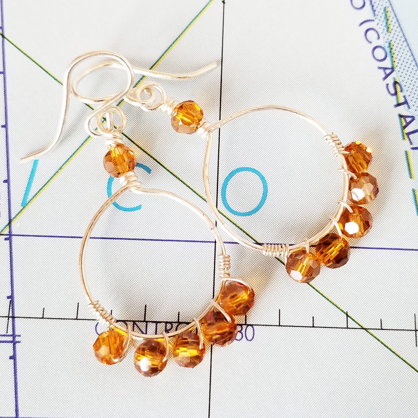 Wrapped Topaz Crystal and Sterling Earrings