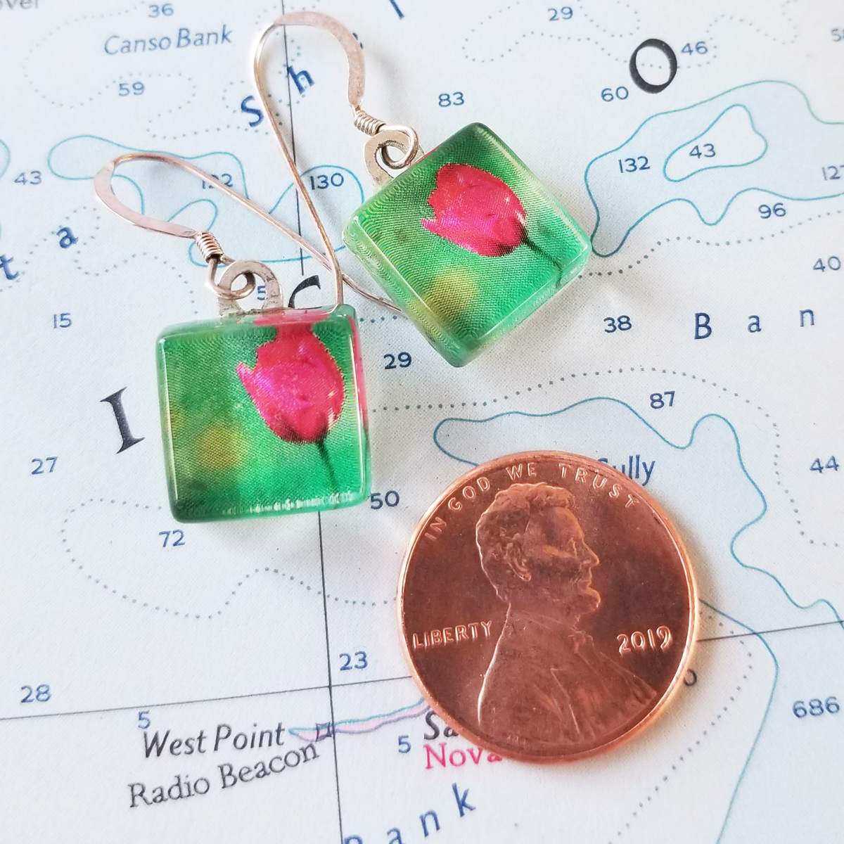 Fairfax Tulip Photo and Sterling Earrings