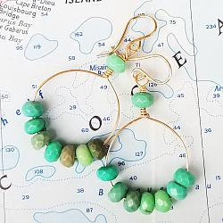 Green Grass and Gold Earrings