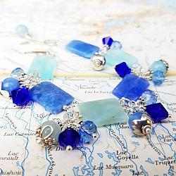 Sea Jade Gemstone, Crystal and Sterling Statement Bracelet