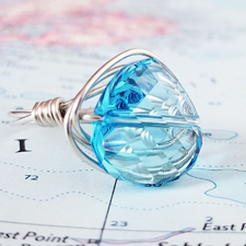 Aquarmarine Crystal and Sterling Ring