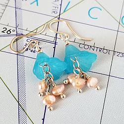 Blue Bells Sterling and Pearl Earrings