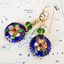 Blue Cloisonne, Crystal and Gold Earrings