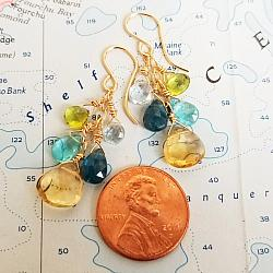 Citrine Gemstone Cluster Earrings