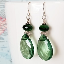 Grass Green Crystal and Sterling Earrings