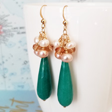 Golden Deep Aqua Jade and Pearl Cluster Statement Earrings