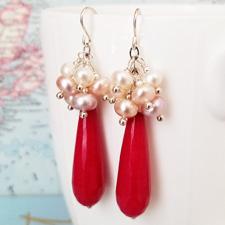 Deep Pink Jade and Pearl Statement Earrings