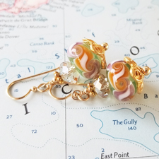 Jessica Lampwork, Crystal and Gold Earrings