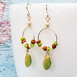 Pretty Little Leaves Glass and Gold Earrings