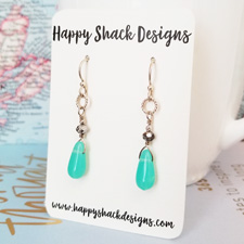 Little Mint Green Drops and Sterling Earrings