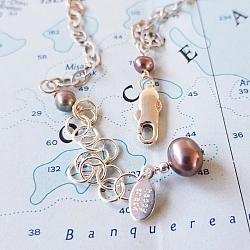 Mixed Pearl Sterling Bar Necklace #2