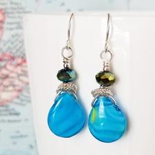 Ocean Drops Glass, Crystal and Sterling Earrings