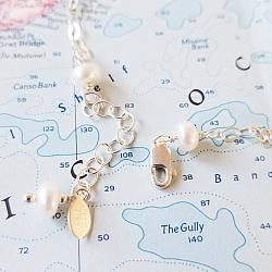 Pastel Pearl Sterling Bar Necklace