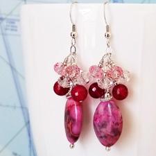 Pink Ladies Gemstone and Crystal Earrings
