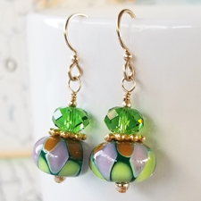 Sprite Lampwork, Crystal and Gold Earrings